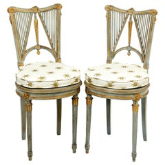 Pair of French Painted Neoclassical Style Harp Back Side Chairs