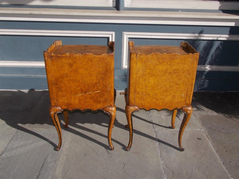 Pair of French Painted Petite Commodes with Opposing Cabinet Doors, Circa 1880 For Sale 1