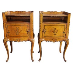 Pair of French Painted Petite Commodes with Opposing Cabinet Doors, Circa 1880