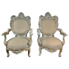 Pair of French Painted Rococo Style Armchairs