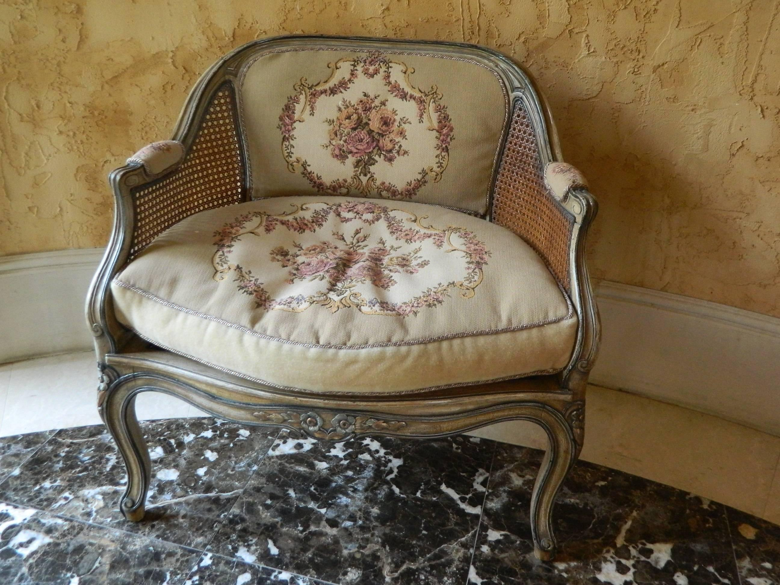 Early 20th Century Pair Of French Painted Chairs With Caning And Tapestry  Backs And Cushions.
