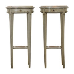 Pair of French Painted Side Tables with Marble Tops