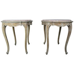 Pair of French Painted Table with Marble Tops, circa 1920s