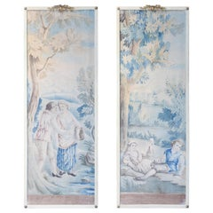 Pair of French Painted Tapestry Panels circa 1900 with Painted Frames