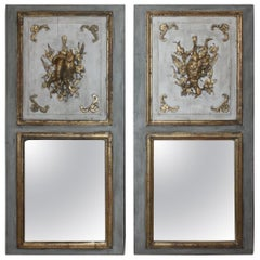 Pair of French Painted Trumeau Mirrors