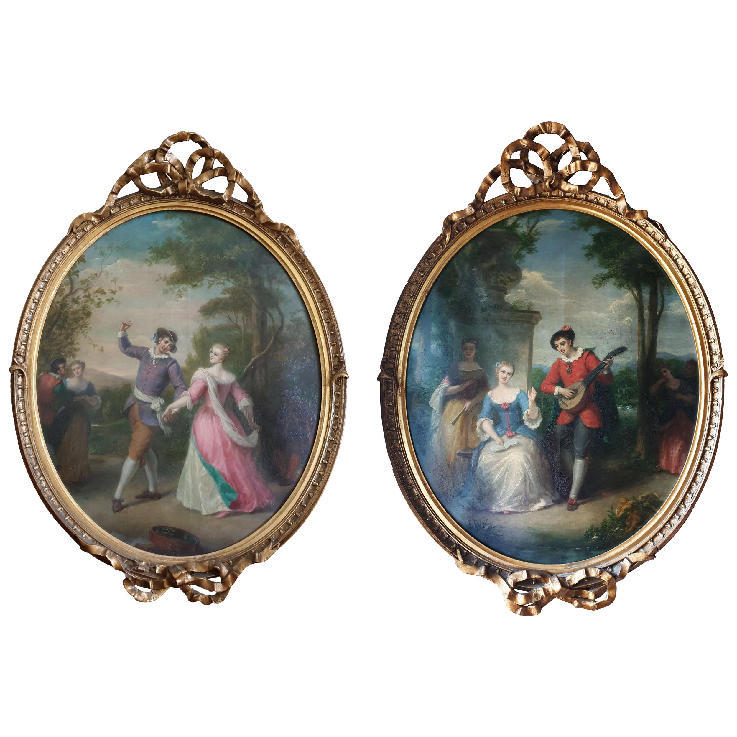 Pair of French Oval Ribbon Paintings Signed And Dated 1910 Scenes Of Lovers