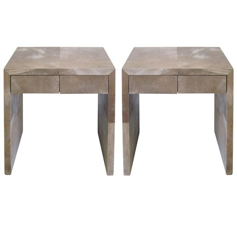 Pair of French Parchment Nightstands / End Tables in Style of Jean-Michel Frank