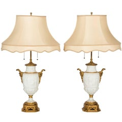 Pair of French Parian Ware Lamps