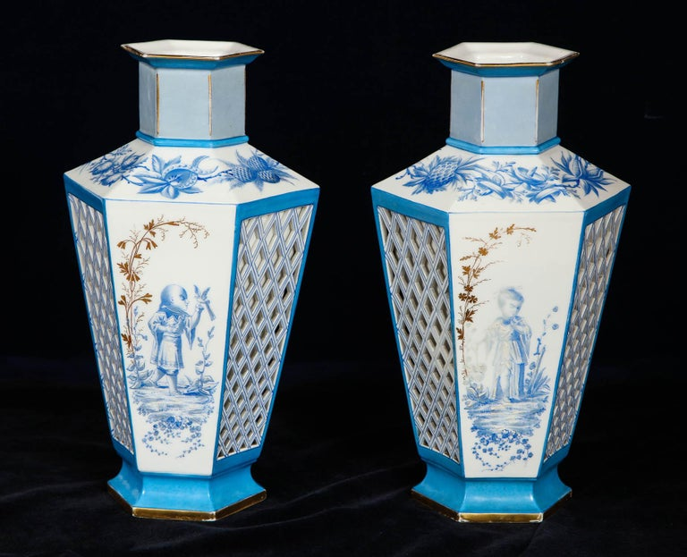 Pair of French Paris Porcelain Blue and White Chinoiserie Style Open-Work Vases For Sale 1