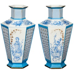 Pair of French Paris Porcelain Blue and White Chinoiserie Style Open-Work Vases