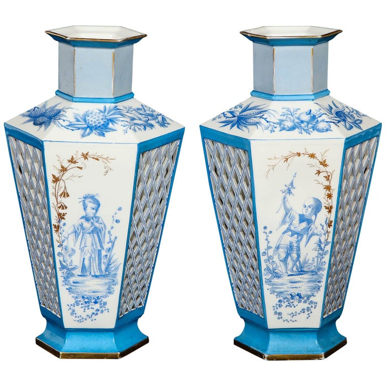 Pair of French Paris Porcelain Blue and White Chinoiserie Style Open-Work Vases For Sale