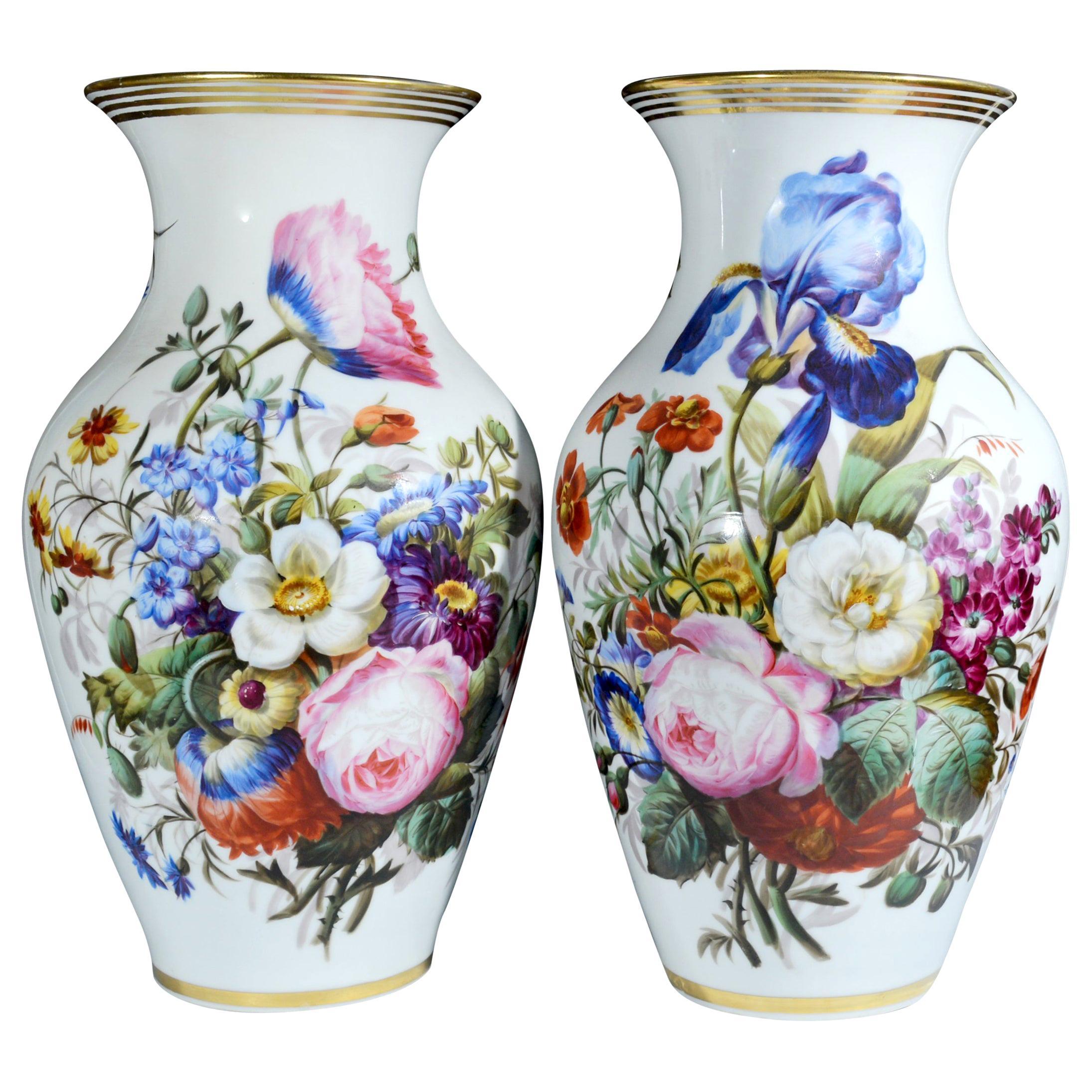 Pair of French Paris Porcelain Botanical Vases, Mid-19th Century