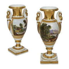 Pair of French Parisian Painted Porcelain Swan-Form Vases, 19th Century