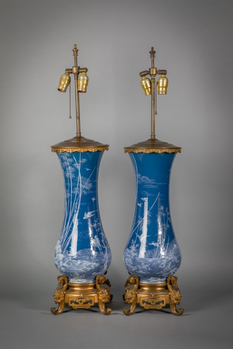 Pair of French Pate-Sur-Pate vases mounted as lamps, circa 1880 (CP & co., signed Melinan).
