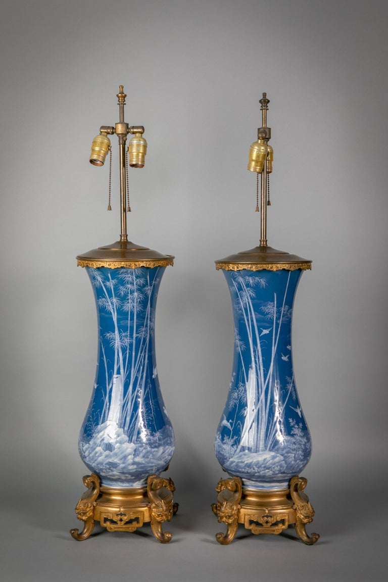 Pair of French Pate-Sur-Pate Vases Mounted as Lamps, circa 1880 In Good Condition For Sale In New York, NY