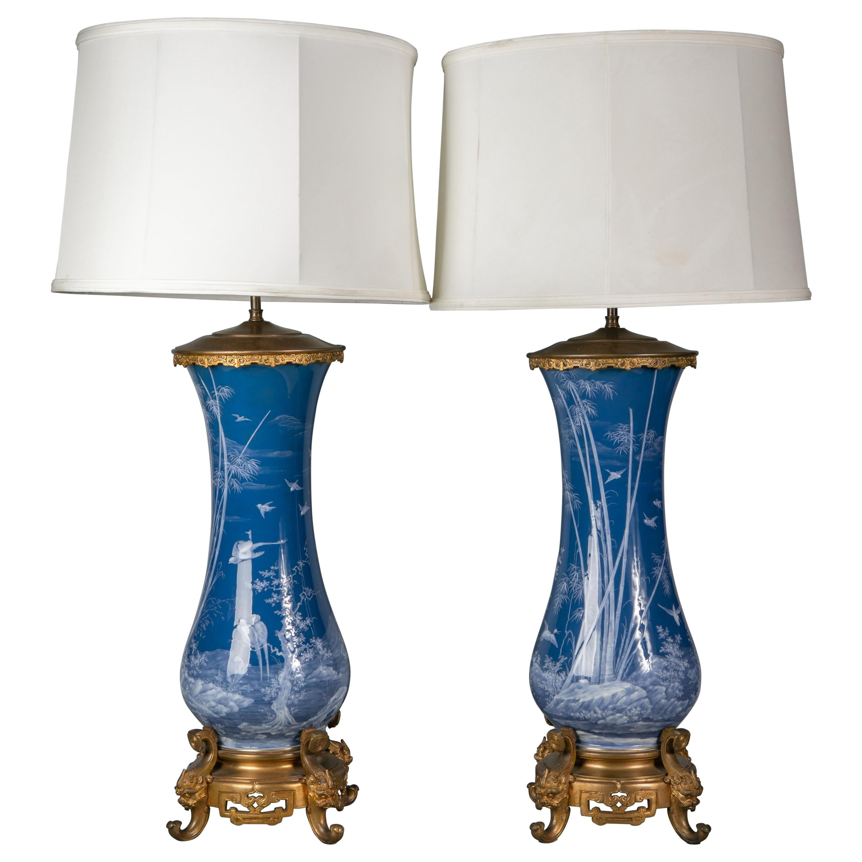 Pair of French Pate-Sur-Pate Vases Mounted as Lamps, circa 1880