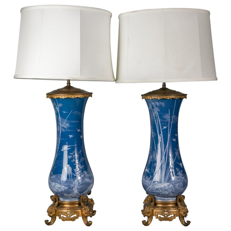 Pair of French Pate-Sur-Pate Vases Mounted as Lamps, circa 1880 For Sale