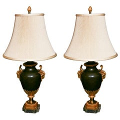 Pair of French Patinated and Gilded  Bronze Urn Lamps