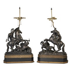 Pair of French Patinated Bronze Roman Equestrian Warrior Groups, 19th Century