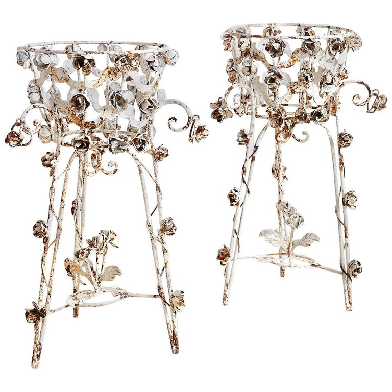 Pair of French Patinated Iron Jardinières or Plant Stands For Sale
