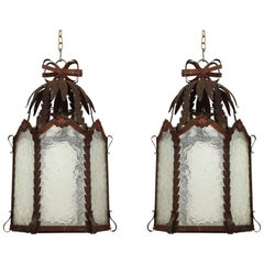 Pair of French Patinated Metal and Wavy Glass Lanterns