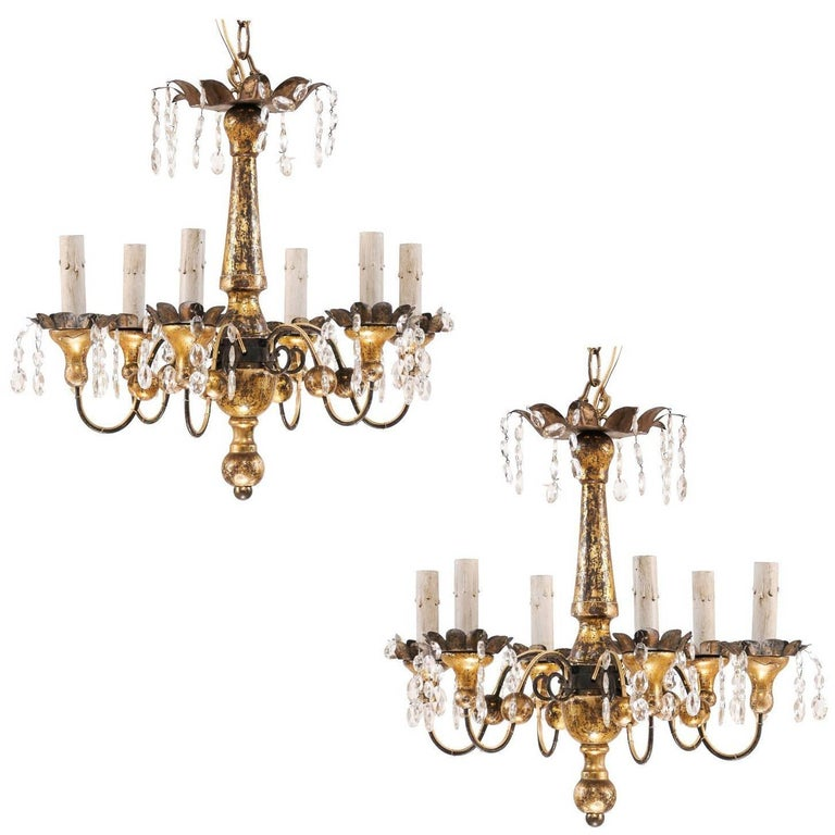 Pair of French Petite-Sized Painted Wood, Metal and Crystal Gold Chandeliers