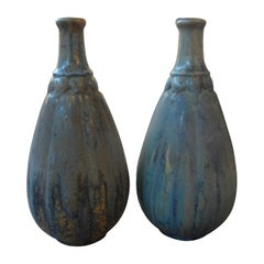 Pair of French Pierrefonds Glazed Pottery Vases, circa 1920