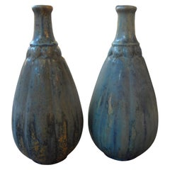 Pair of French Pierrefonds Glazed Pottery Vases, circa 1920