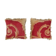 Pair of French Pillows Made of 19th Century Aubusson Tapestries with Foliage