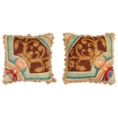 Pair of French Pillows Made of 19th Century Aubusson Tapestry with Floral Décor