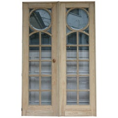 Pair of French Pine Doors with Beveled Glass, Art Deco, circa 1920s