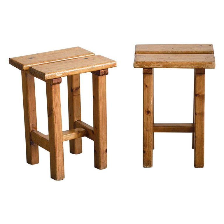 Pair of French Pine Stool in the Style of Charlotte Perriand For Sale