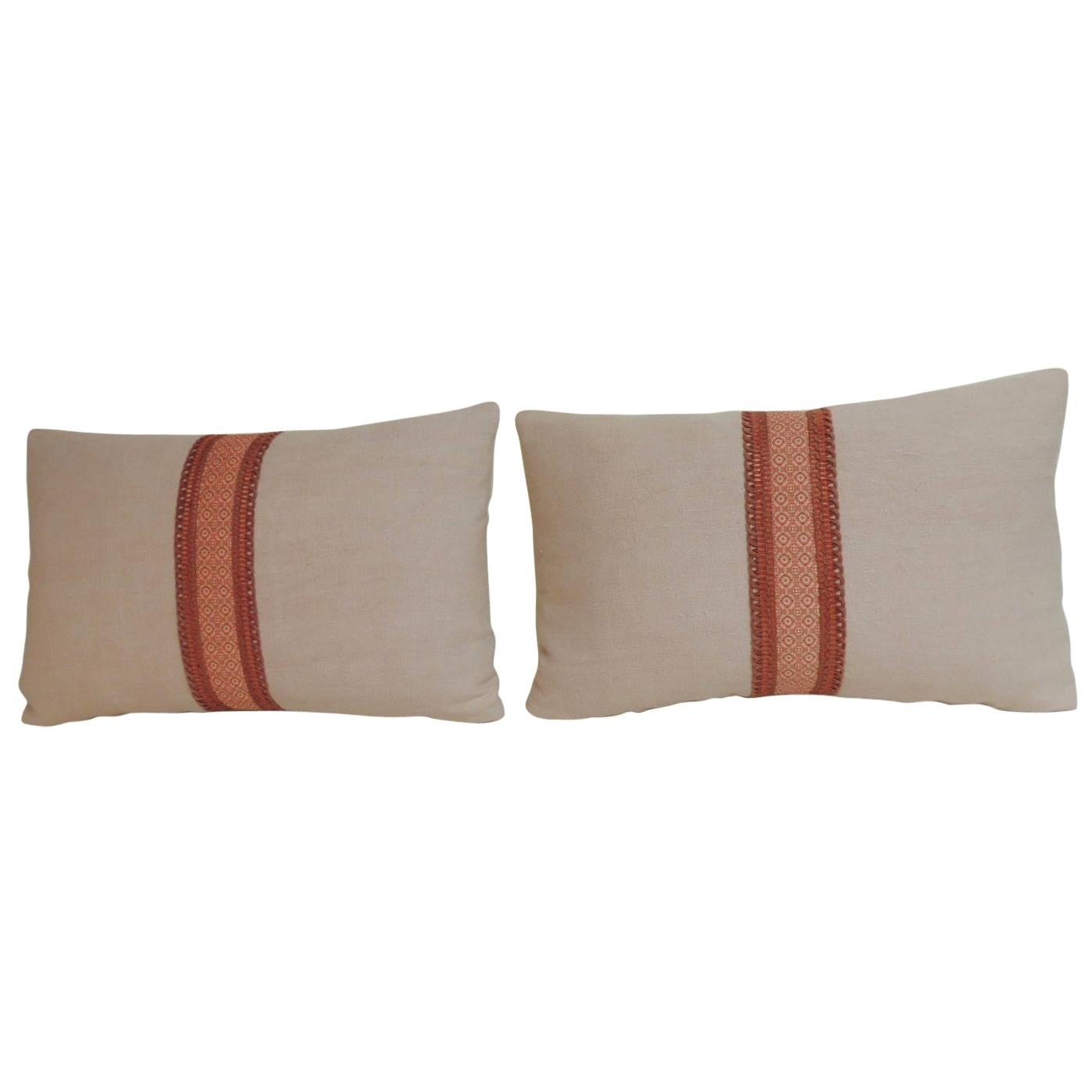 Pair of French Pink and Red Linen Trim Decorative Lumbar Pillows