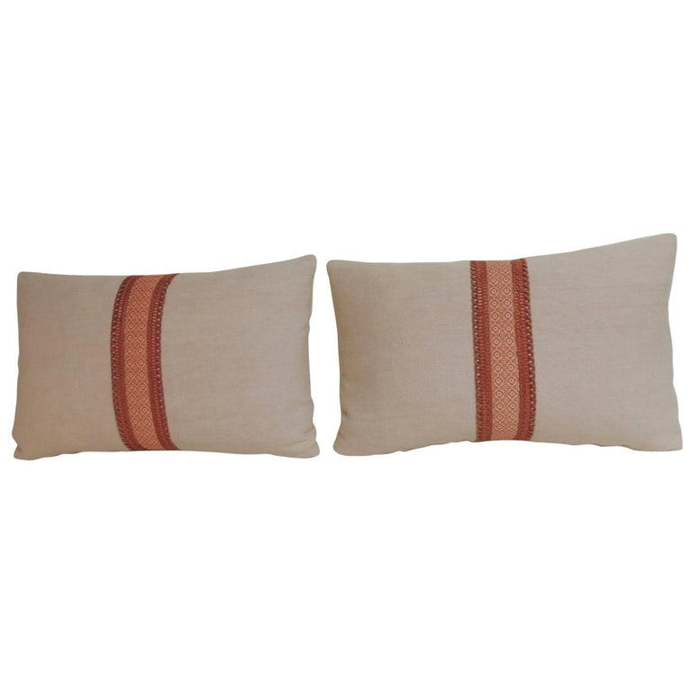 Pair of French Pink and Red Linen Trim Decorative Lumbar Pillows For Sale