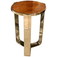 Pair of French Polished Stainless Steel and Walnut Side Tables