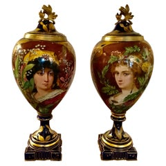 Pair of French Porcelain Art Nouveau Portrait Urns, Gilt Bronze Mounted C. 1900