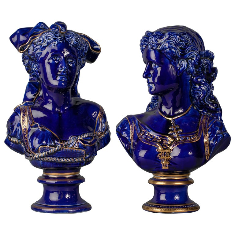 Pair of French Porcelain Blue and Gilt Busts of Woman, circa 1880 For Sale