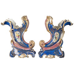 Pair of French Porcelain Cornucopia Vases, circa 1880