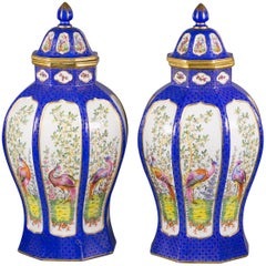 Pair of French Porcelain Covered Jars, Samson, circa 1880