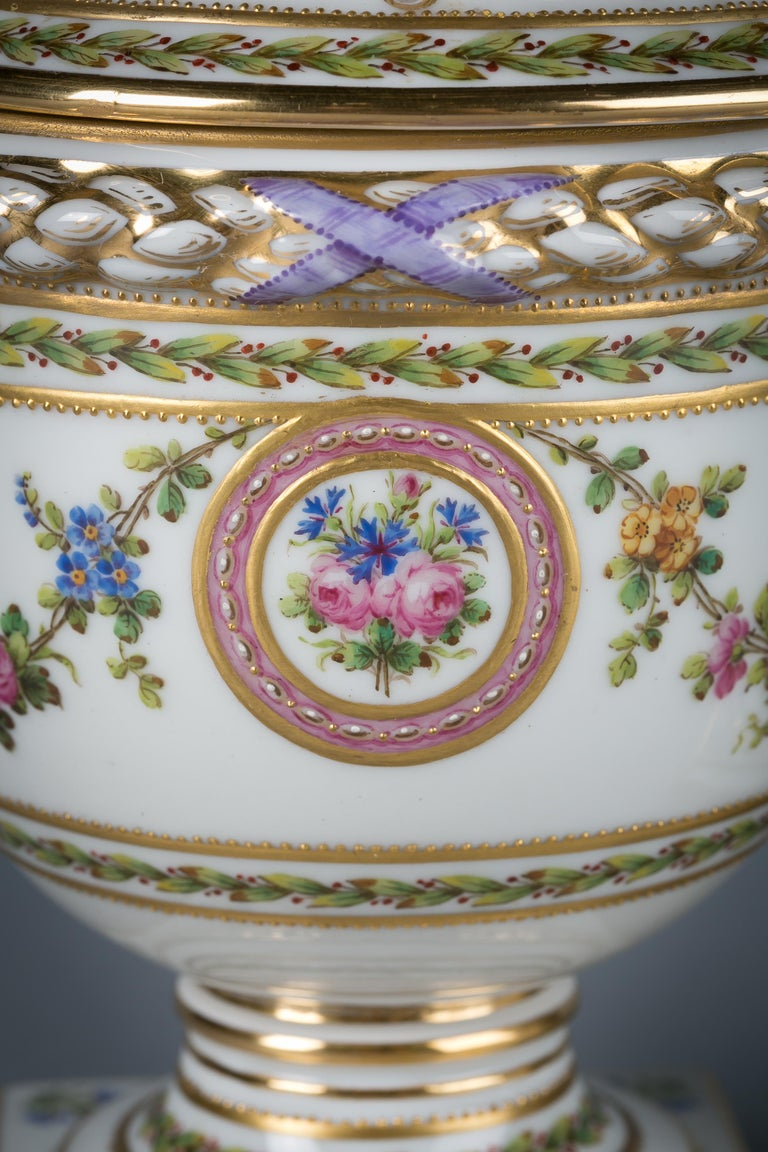 Late 19th Century Pair of French Porcelain Covered Potpourri Covered Jars, circa 1890 For Sale