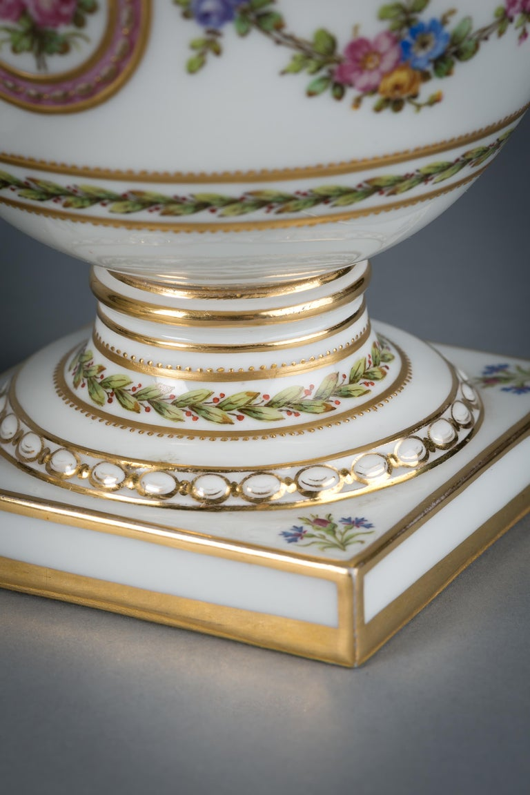 Pair of French Porcelain Covered Potpourri Covered Jars, circa 1890 For Sale 1