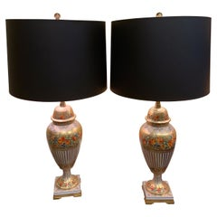Pair of French Porcelain Floral Decorated Urns Converted to Lamps by Marbro