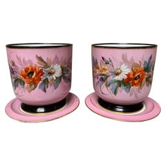 Pair of French Porcelain Napoleon III Pink ad White Cashepots on Stands