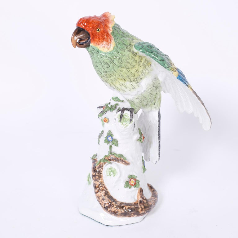 Pair of French Porcelain Parrots For Sale 1