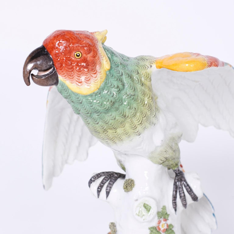 Pair of French Porcelain Parrots For Sale 2