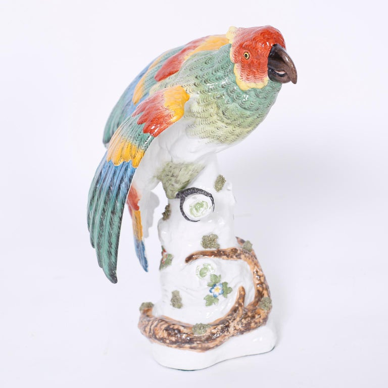 Pair of French Porcelain Parrots For Sale 4