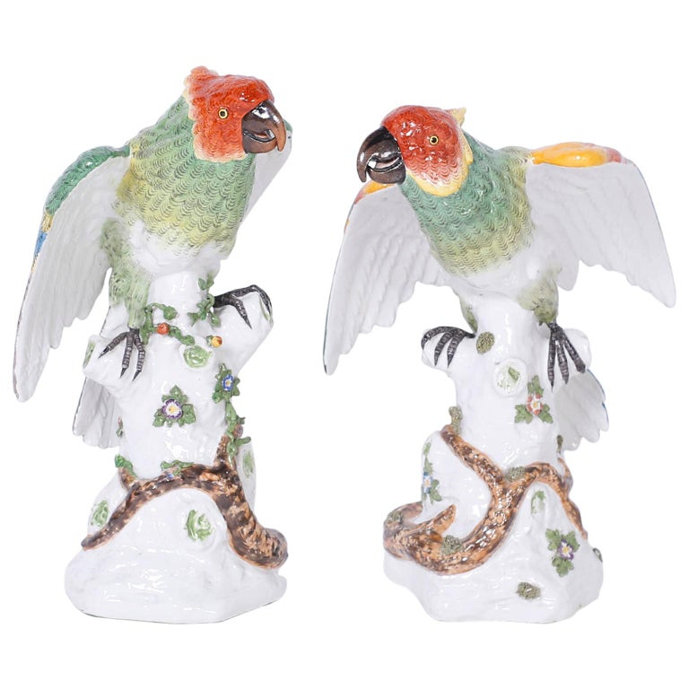 Pair of French Porcelain Parrots For Sale
