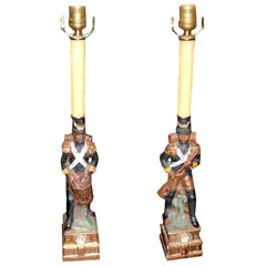 Pair of French Porcelain Soldier Lamps