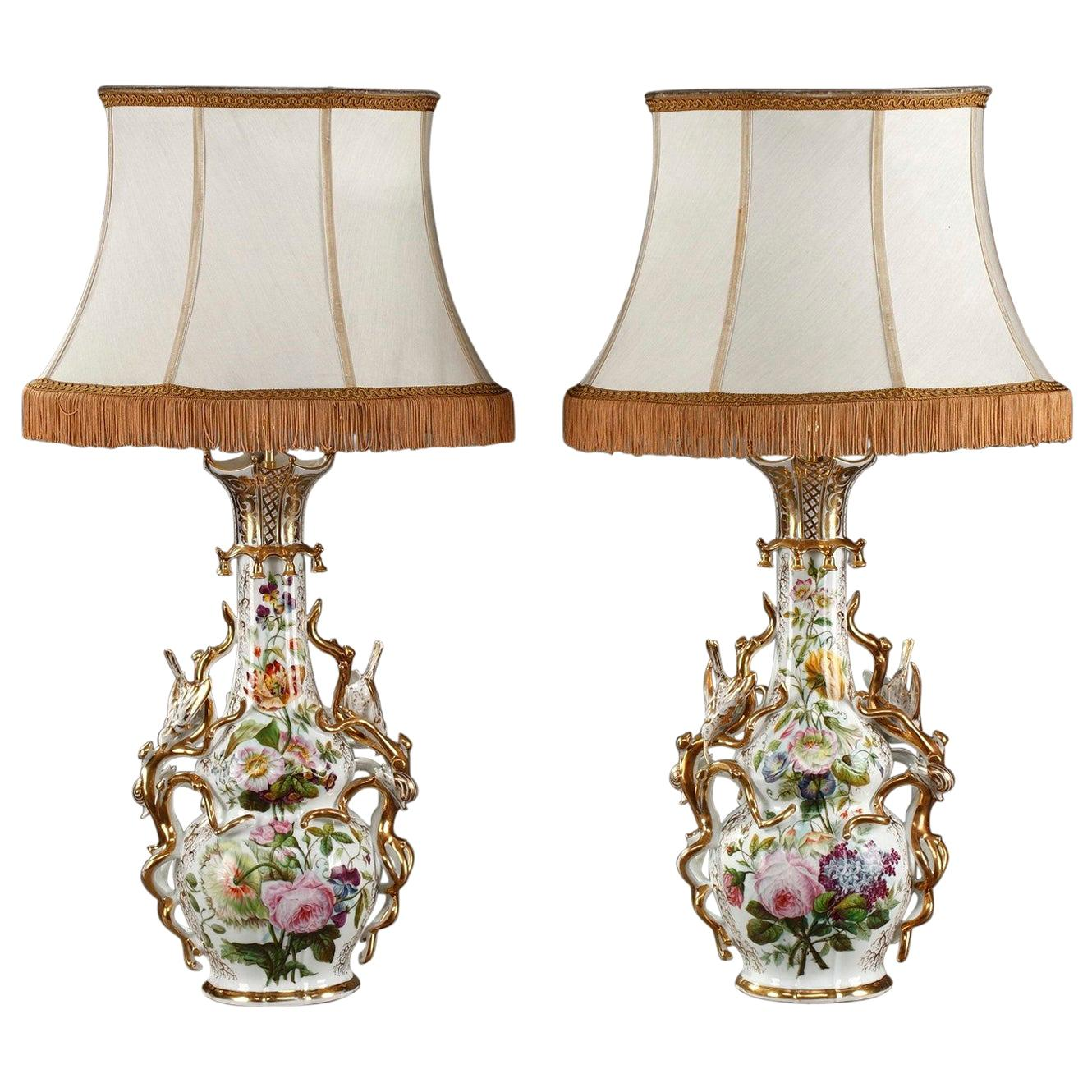 Pair of French Porcelain Vase-Mounted as Lamps in Louis XV Style