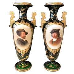 Pair of French Portrait Decorated Green Glass Vases, circa 1920s